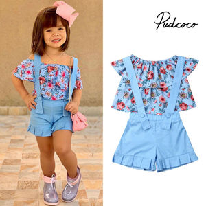 Girls Clothes Suits 2019 New Summer Style Children Floral Tops + Overalls Suit Clothes Sets For 1-6T Kids Ruffles Sleeve Sets(China)