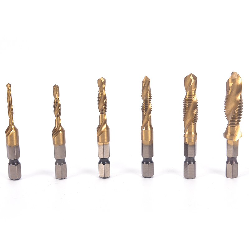 1PC Hex Shank Machine Taps Kit Metric Plug Hand Tap Drill Bits 6542 Screw Spiral Point Thread M3 M4 M5 M6 M8 M10 Metalworking 6pcs set hand tap drill hex shank hss screw spiral point thread metric plug drill bits m3 m4 m5 m6 m8 m10 hand tools