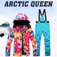 Зимний лыжный костюм, куртка + штаны, теплые водонепроницаемые ветрозащитные лыжные сноубордические костюмы