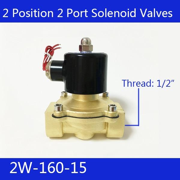 Free Shipping 1/2 2 Position 2 Port Air Solenoid Valves 2W160-15 Pneumatic Control Valve , DC12V  DC24V   AC220V free shipping 4v420 15 1 2 inlet outlet exhaust 2 position five 5 way port electromagnetic pneumatic air solenoid valve 220v ac