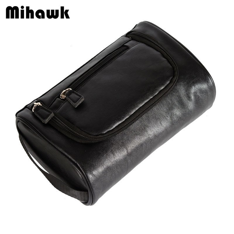 Mihawk Men's Black PU Cosmetic Bags Wash Pouch Travel Necessary Storage Toiletries Beauty Tools Organizer Accessories Supplies solid color fashion cosmetic bag ladies portable travel necessary markup pouch storage beauty tools accessories supply products