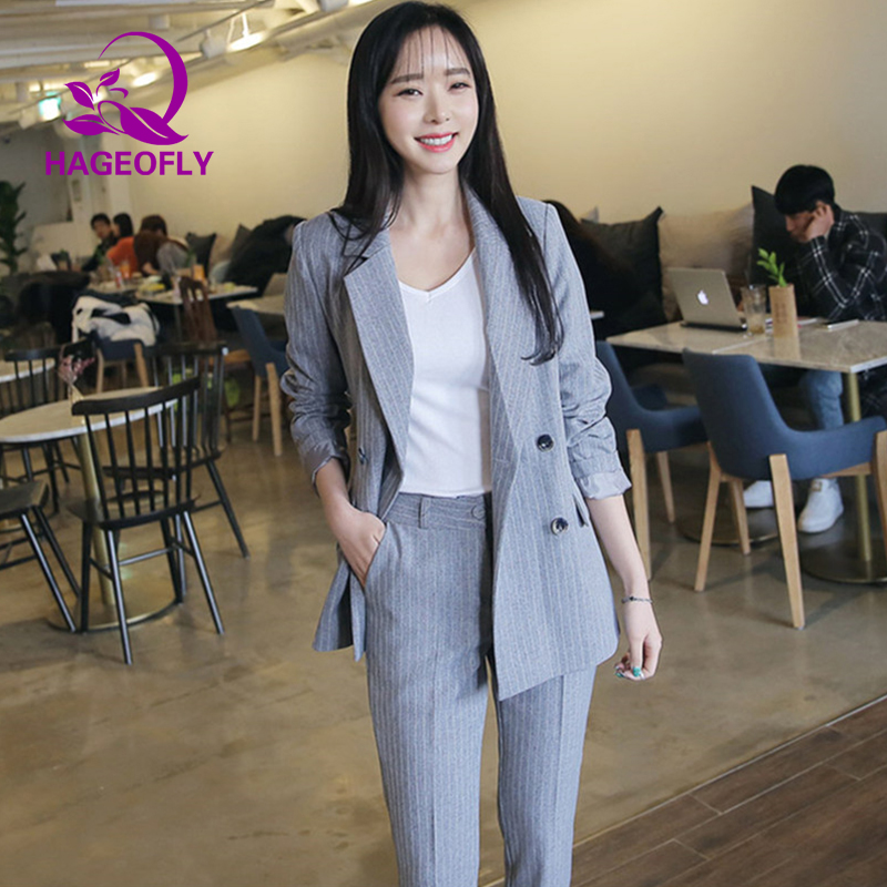 New Korean Women's Suits Striped Black White Gray Blazer with Nine Pants Female Double breasted Office Two Piece Suit Women 2019