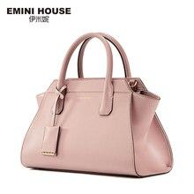 EMINI HOUSE Split Leather Shoulder Bag Fashion Trapeze Women Messenger Bags Handbag Women Famous Brands Crossbody