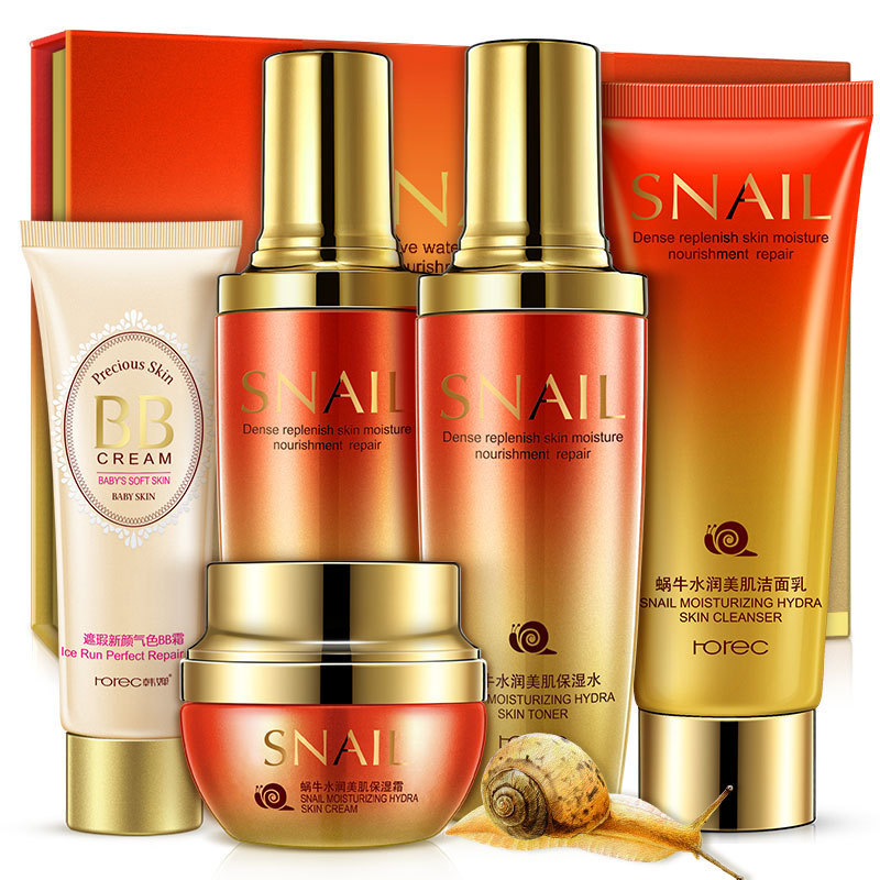 ROREC Snail Moisturizing & Beauty Set Skin Care Nourishing Anti-aging Brightening Cleanser, Toner, Lotion, Cream, BB Cream new arrival red pomegranate cleanser cream lotion smoothing toner skin care beauty set moisturizing freckle dark spot remover