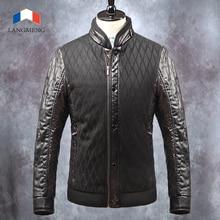 Langmeng 2015 новых мужчин зимний пиджаки куртка супер теплый повседневная пальто мужчины марка кожа лоскутное куртка пальто мужчины стильный пальто