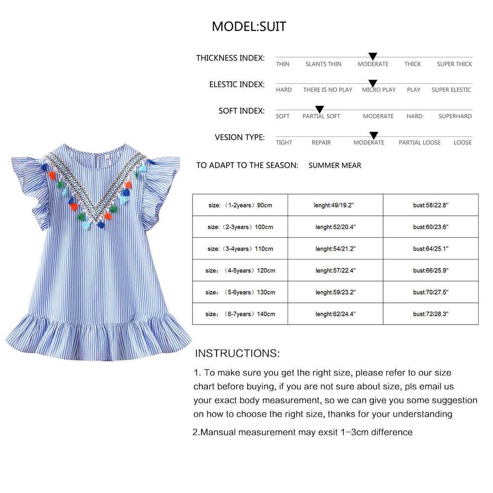 בנות ציצית עף שרוול שמלות פס חמוד ילדים מסיבת שמלות לילדים בנות נסיכה שמלת חולצות בגדי קיץ
