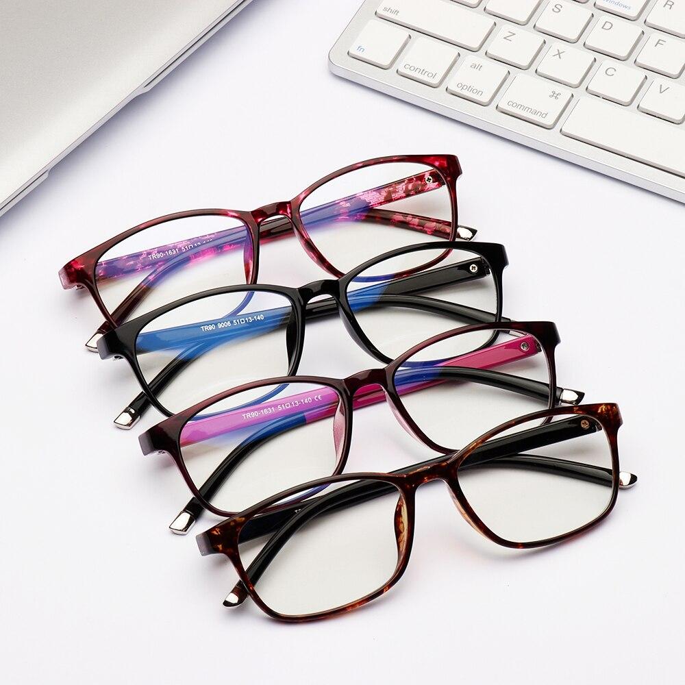 Rectangle Radiation Protection Women Eyeglasses Frames AntiBlue HD Visual AntiFatigue Reading Glasses Frames Men,Red