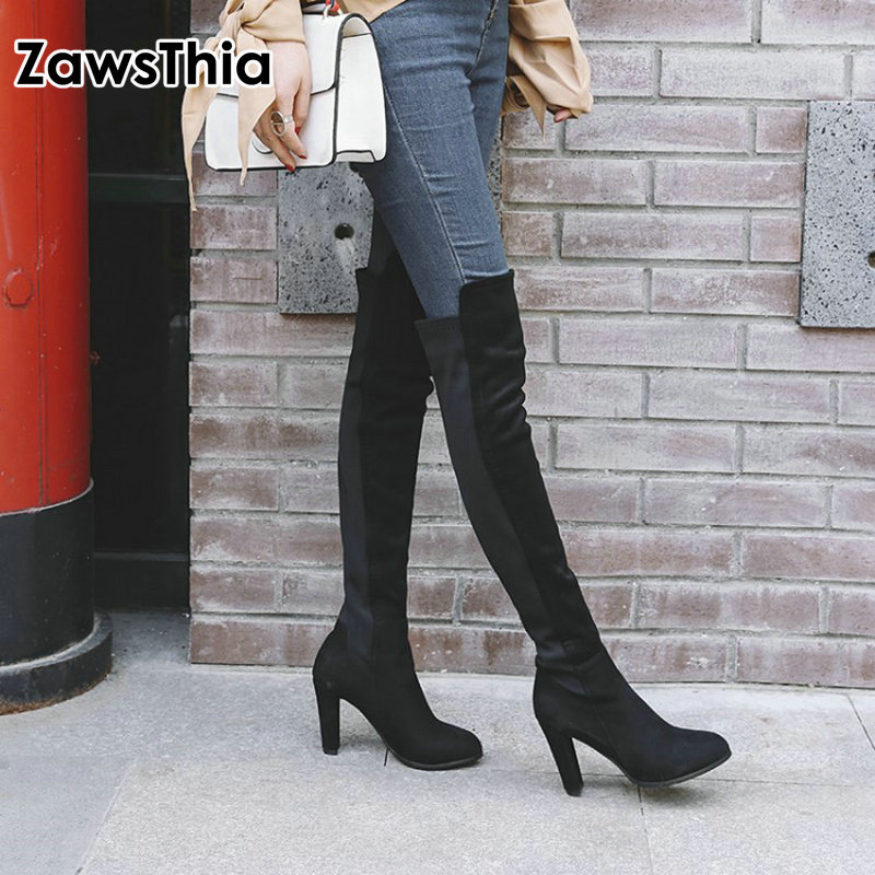 women winter boots stretch fabric fashion high heels women s boots elegant over the knee long boots winter boots ZawsThia 2018 winter new lycra stretch fabric thigh boots high heels shoes woman over the knee high boots women overknee boots