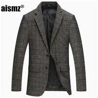 Aismz Spring Autumn Winter Thicker Woolen Tweed Jackets Men Solid Grey Slim Fit Blazer Men Casual Business Design Mens Blazer