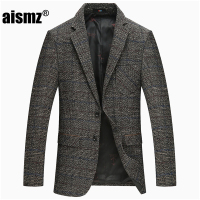 Aismz Spring Autumn Winter Thicker Woolen Tweed Jackets Men Solid Grey Slim Fit Blazer Men Casual Business Design Mens Blazer