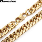 Mens Chain 13/15mm Heavy Gold Color Silver Tone 316L Stainless Steel Double Curb Link Rombo Boys Necklace Wholesale Gift LHN57