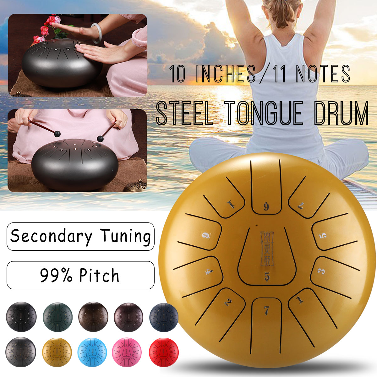 SENRHY Steel Tongue Drum 11 Notes Pentatonic Scale Hank Drum for Adult Percussion Instruments with Many Accessories 10 inch 3000gb seagate st3000dm001 64mb 7200rpm sata3 desktop hdd 7200 14 page 5