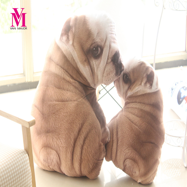 Vanmajor New Simulation Shar Pei Dog Plush Pillows Stuffed Cartoon Mother And Baby Toys Dolls