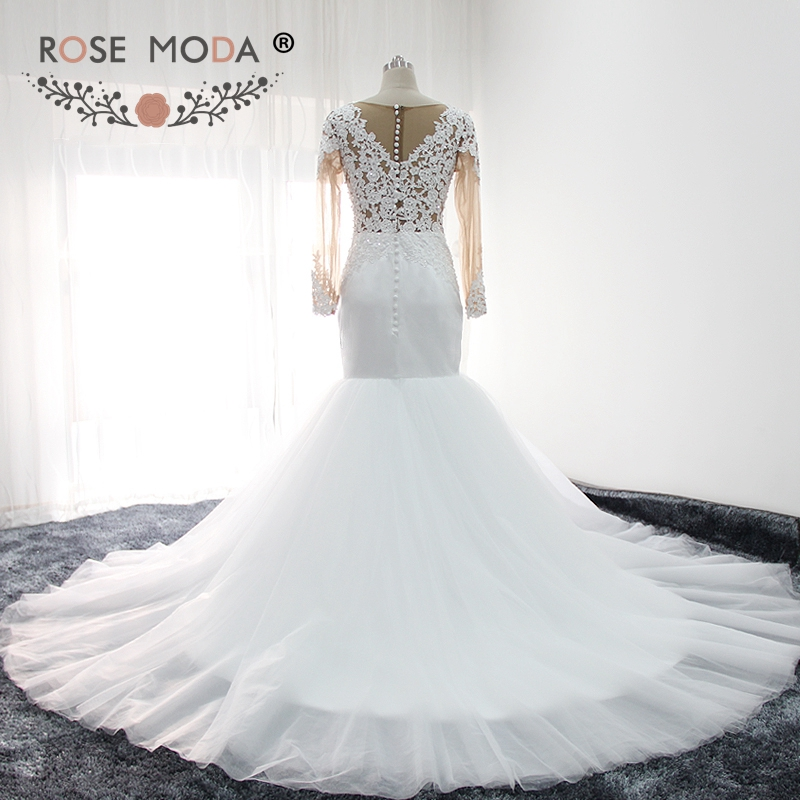 rosa de moda de manga larga vestido de boda sirena de 2019 puffy