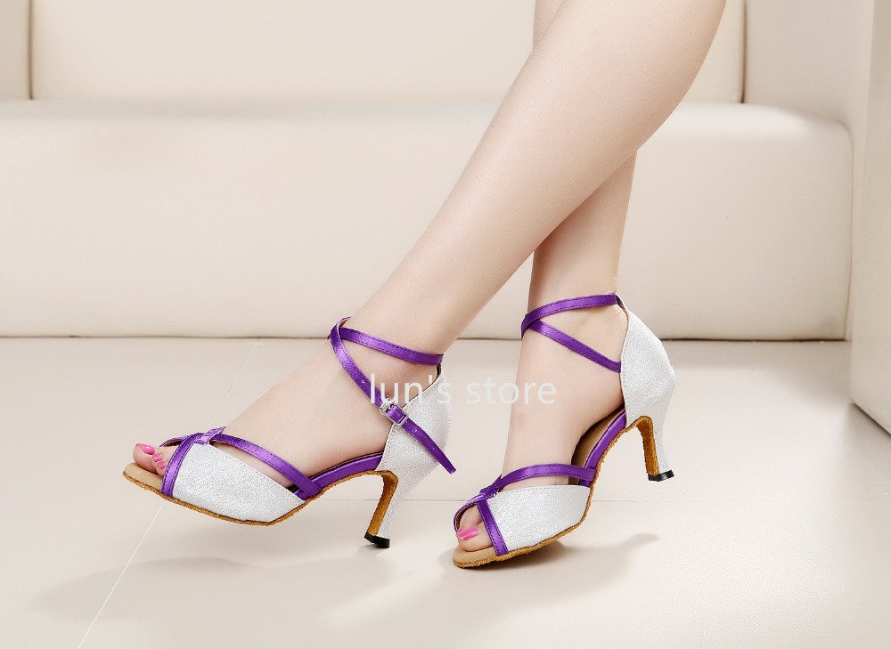 Ballroom Latin Dance Shoes New Silver Glittler Purple Straps Sexy Salsa Bachata Dance Shoes Tango Dancing Shoes