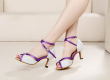 New Women White Glittler Purple Straps Ballroom Latin Dance Shoes Salsa Bachata Dance Shoes ALL SIZE