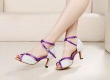 New Women White Glittler Purple Straps Ballroom Latin Dance Shoes Salsa Bachata Dance Shoes ALL SIZE