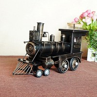 Vintage Train Head Model Metal Iron Black Red Simulation Train Model Steam Engine Crafts Decoration 1384