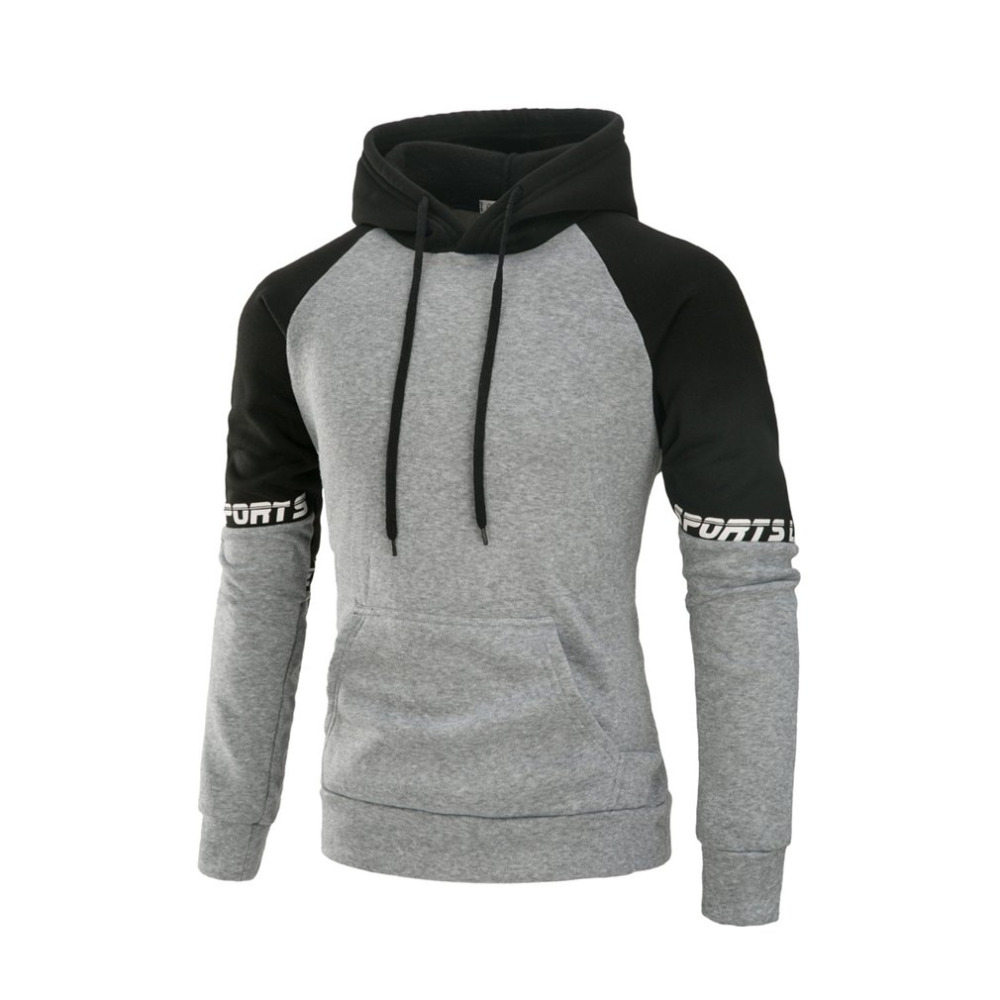 Casual Men Loose Hoodie Pullovers Round Collar Sweatshirt Long Sleeve Patchwork Design Male Pullovers Plus Size M-XXXL