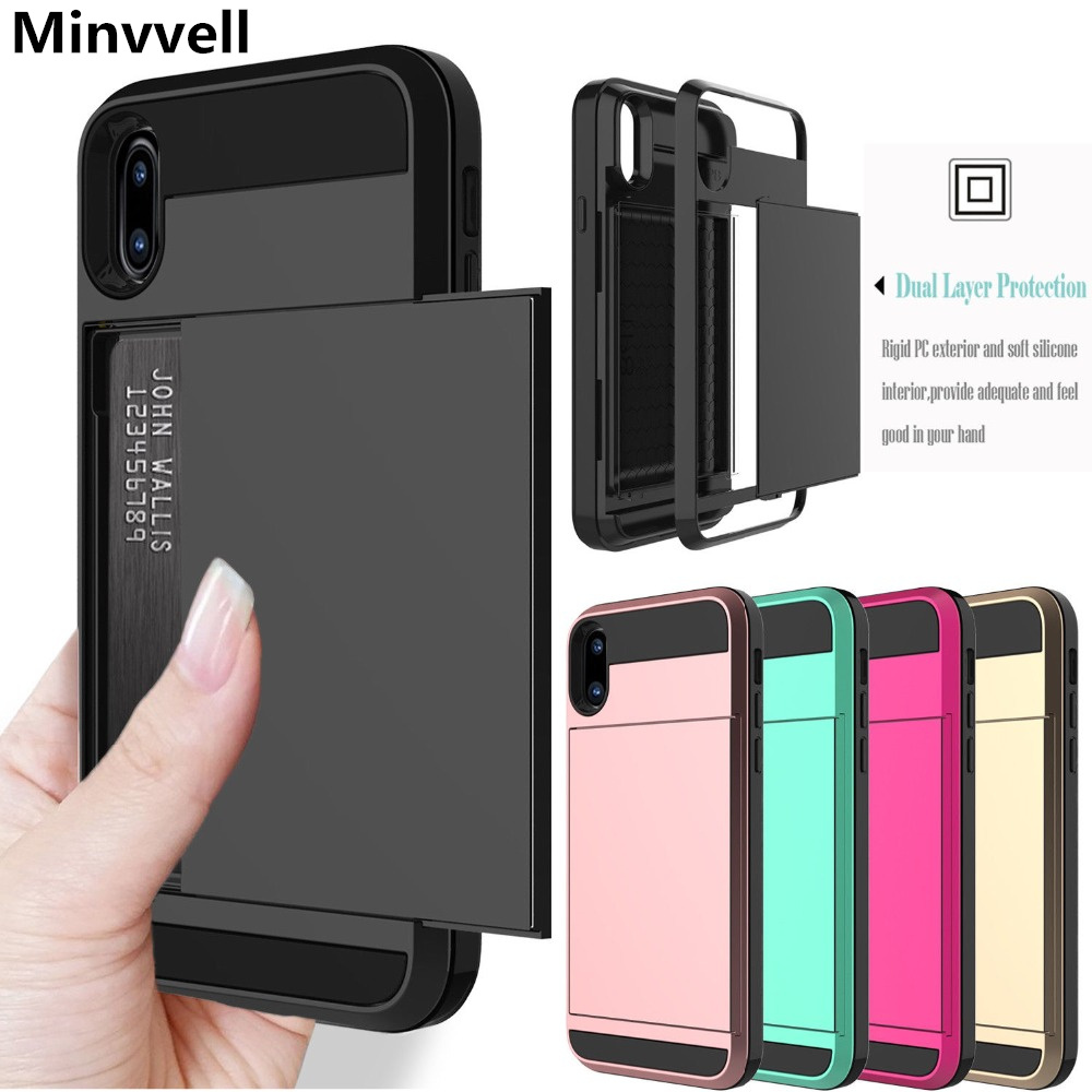 Slide Credit Card Slot Wallet Phone Case For iPhone 6 6S 7 8 Plus 5 5S SE Armor TPU Shockproof Capa For iPhone X XS Max XR Cover slide wallet