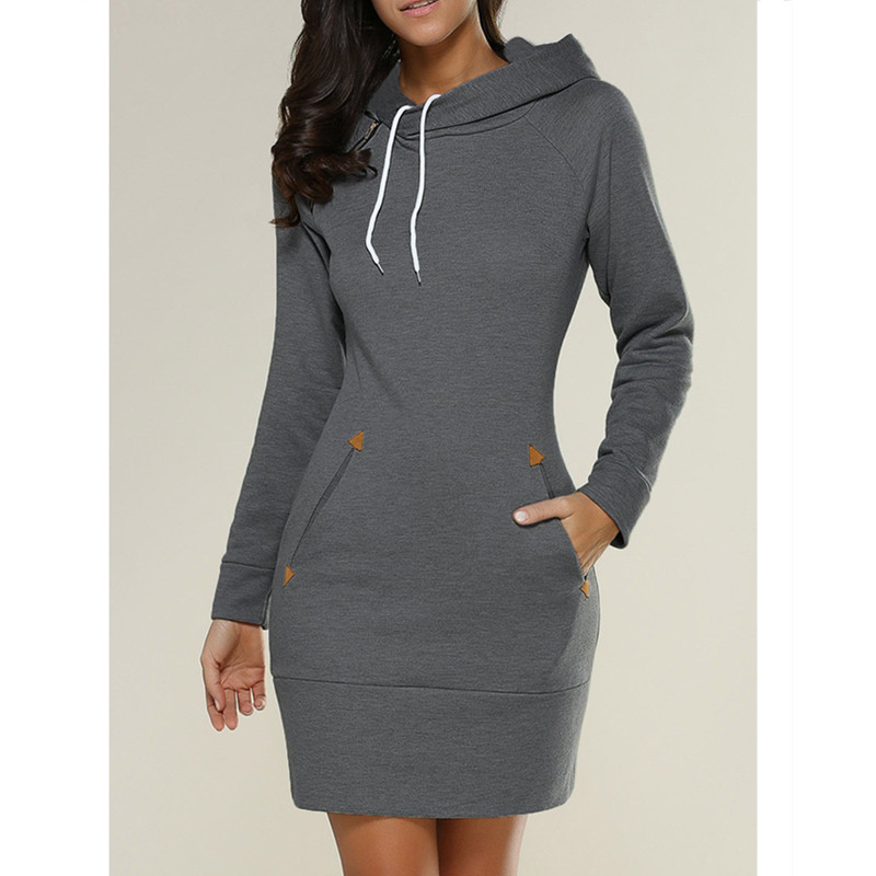 Manufacturer direct sale of 2017 hot style European and American fashion casual hooded high collar long sleeves dress 5 color 8