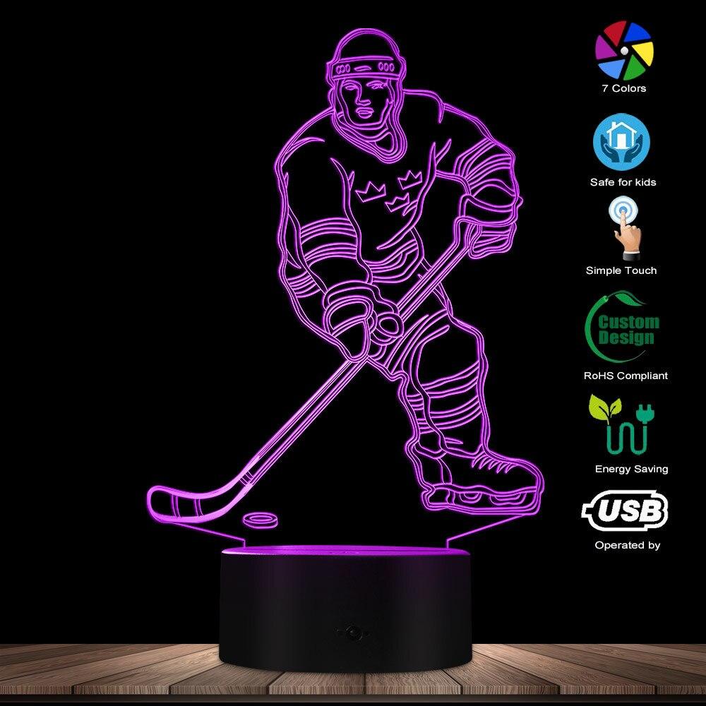 Hockey Player 3D Night Lamp 3D Night Light Children Light Home Decor LED Optical Illusion Light Hockey Gifts Decorative Lighting