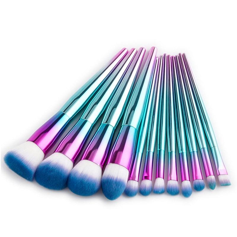 цена на Unicorn 12pcs Pink Blue Makeup Brushes Set Foundation Powder Blush Eyeshadow Kits Brushes Cosmetic Tool For Drop Shipping