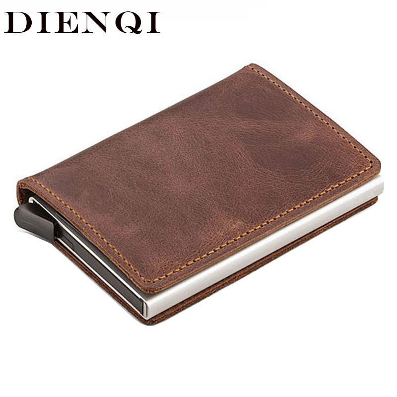 DIENQI Rfid Genuine Leather Wallet Men Credit Card ID Holders Wallet Male Metal Mini Purse Cash Women Card Holder Case Money Bag