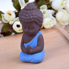 1PCS Small Statues Little Meditation Monk Miniature Craft Buddha Statues Clay Mini Chinese Buddhism Zen Monks Buddhism(China)