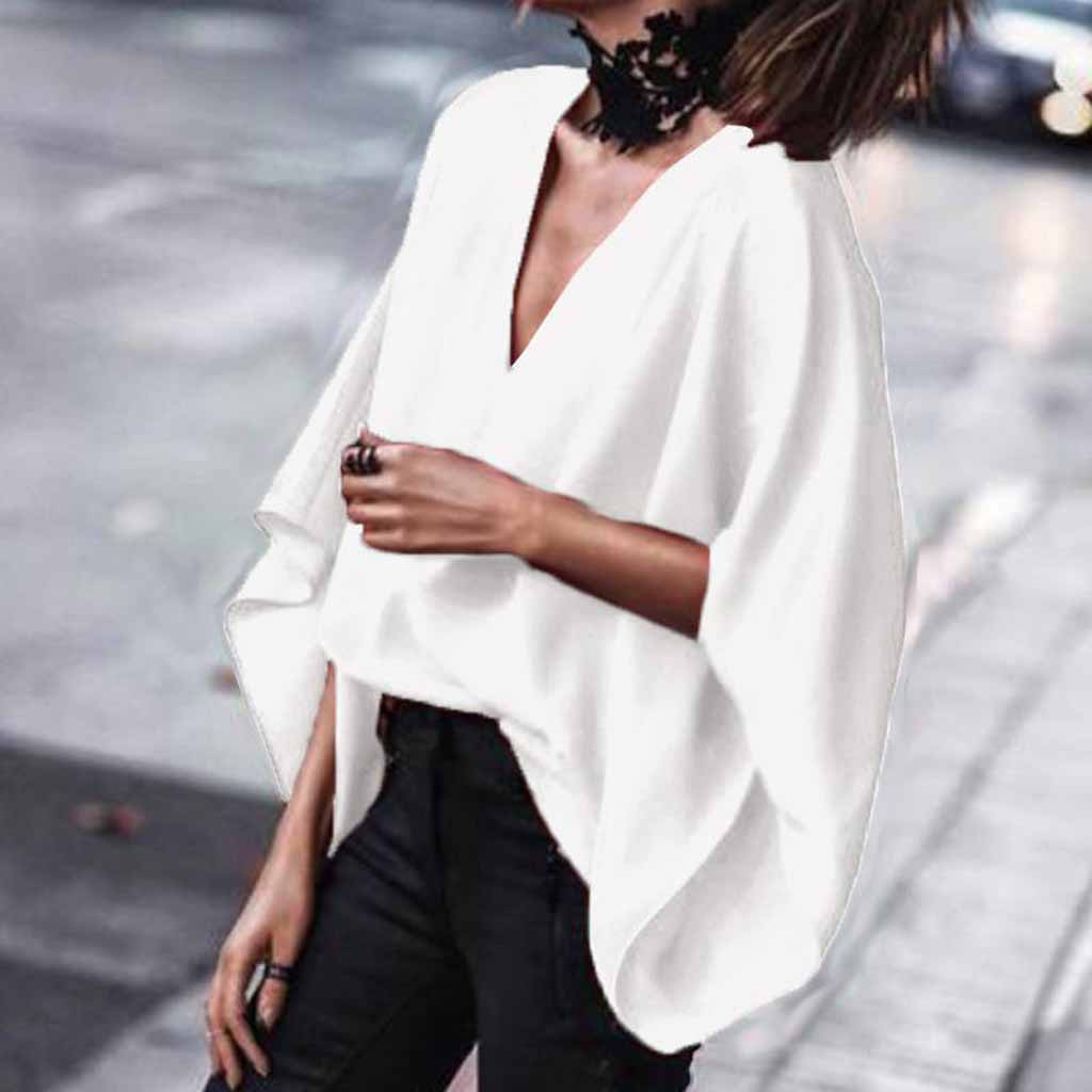 Women Bright Feitong Women Summer Vest Chiffon Blouse Deep V Neck Loose Bat-wing Flare Sleeve Loose Tee Shirts Tops Lady Fashion Tee Clothes Suitable For Men And Children