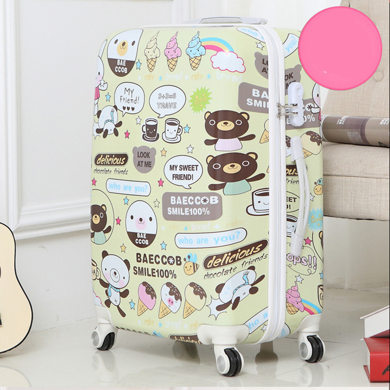 LeTrend 24 inch cute beer rolling luggage Spinner suitcase Wheels trolley travel bag trunk students carry on luggage
