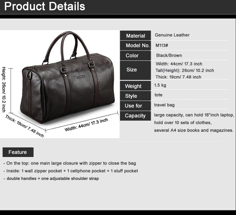 0aab8143c0f7 Fashion Genuine Leather Travel Bag Men Large Carry On Luggage   Travel Bag  Men Leather Duffle Bag Weekend Bag Big Tote Overnight