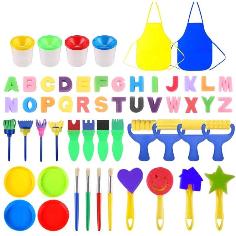 56Pcs/set Children Painting Foam Sponge Brush Apron Moulds Tools Kit Kids Early Art Education Learning Drawing Graffito Tool Set