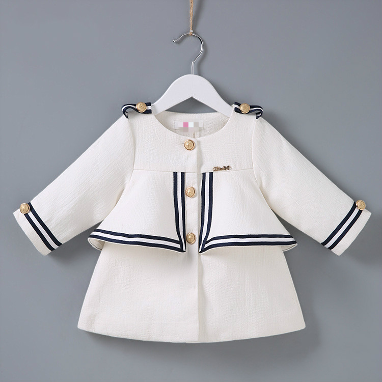 2018 New girls fashion jackets baby girls navy style coats children outerwear kids trench coats buttton wholesale 18010103