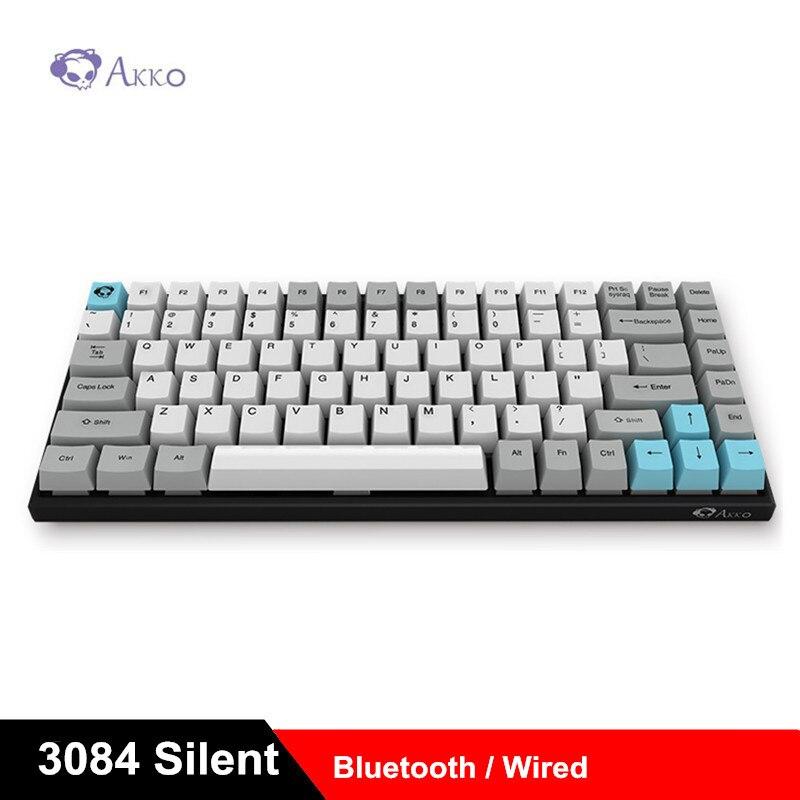 AKKO 3084 Silencioso Keycap PBT Teclado Mecânico Cereja MX Mudar Gaming Teclados Com Fio Bluetooth Dual Mode