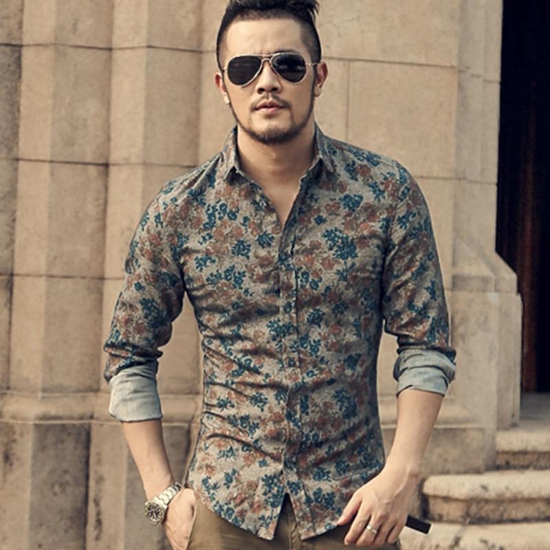 Image 5 - New Fashion Casual męska koszulka z długim rękawem europa Style Slim Fit koszula mężczyzna wysokiej jakości bawełna Floral koszula S2124fit shirtfashion men clothesmen clothes -