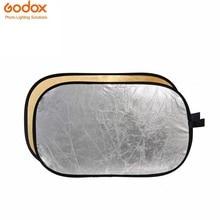 Godox 2 em 1 Disco Refletor dobrável 120×180 cm Difusor de Iluminação Retângulo de Ouro Prata incluem Saco