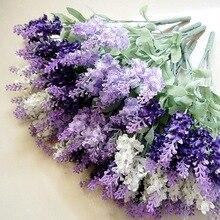 1 ramo de 10 cabezas de seda sintética lavanda Vintage hogar Real flores artificiales/plantas decoraciones de boda para jarrón