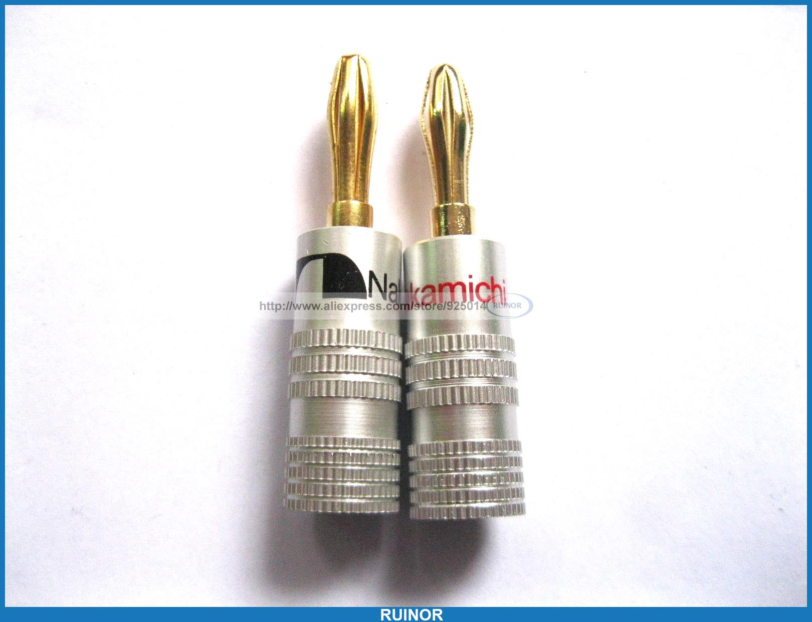 10 Pcs Nakamichi Gold Plated Speaker Banana Plug Connector  high end audio grade nakamichi ac 205 24k gold plated banana plug for diy speaker cable