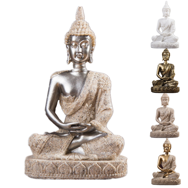VILEAD 11cm Nature Sandstone India Buddha Statue Fengshui Sitting Buddha Sculpture Figurines Vintage Home Decor Use for Aquarium 4