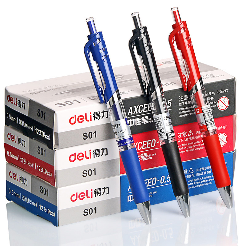 12 Pcs 1Pacote Art Marker Ballpoint Pens Offices School Red Blue Black Neutral Ink Pen Caneta Gel Nib 0.5 mm Agulhas Deli S01 цены онлайн