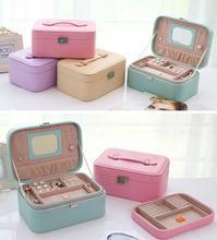 Jewelry Storage Box Princess European  style Korean jewelry box double leather earrings ring jewelry box gift