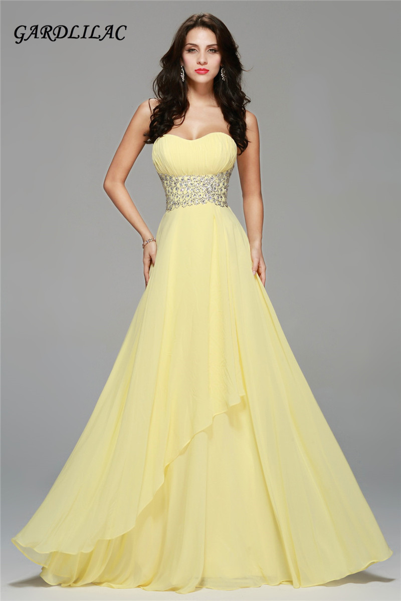 Us 68 84 15 Off 2019 Chiffon Long Prom Dresses Yellow Evening Gown Crystal Beads Belt Pary Dress Beach Bridesmaid In