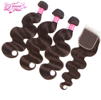 Queen Love Hair Pre Colored Peruvian Hair 3 Bundles With Closure Body Wave Non Remy Hair