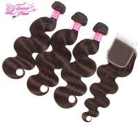 Queen Love Hair Pre Colored Peruvian Hair 3 Bundles With Closure Body Wave Non Remy Hair