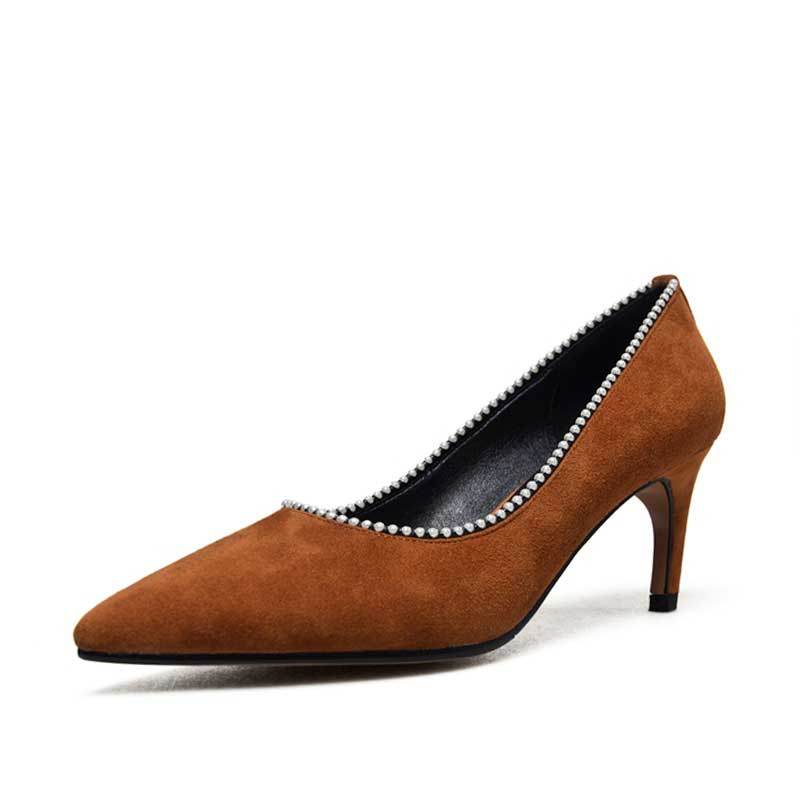 Womens Black Pumps Suede Genuine Leather Fashion Mid Heel Pointed Toe Spring Autumn Pump Shoes Court Bead Pearl Rivet Footwear