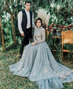Image 2 - Винтажное Тюлевое ТРАПЕЦИЕВИДНОЕ ПЛАТЬЕ серого и синего цвета с высоким воротом и длинным рукавом, с романтическими цветами, модель 2019 года, мусульманское арабское искусственное платье