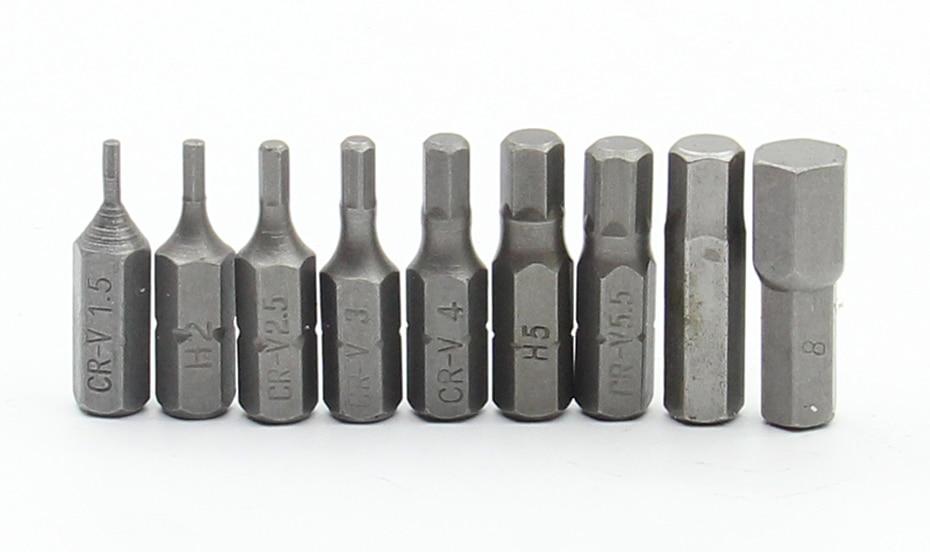 7Pcs Hexagon Screwdriver Set 25mm Long H1.5 H2 H2.5 H3 H4 H5 H6 Drill Bits For Screwdriver 1/4 Inch Hex Shank Screwdriver Bit