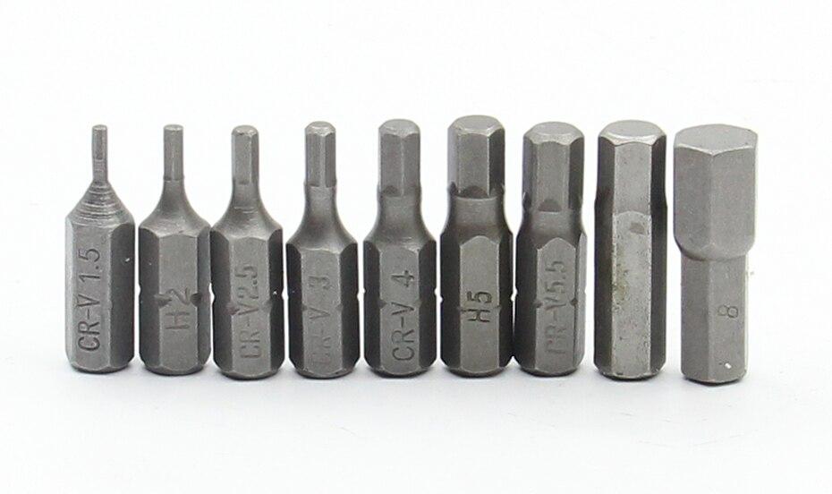9Pcs Hexagon Screwdriver Set 25mm Long H2 H2.5 H3 H4 H5 H6 H7 H8 Drill Bits For Screwdriver 1/4 Inch Hex Shank Screwdriver Bit