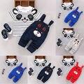 Muchacha del niño del muchacho 2016 Del Verano Del Estilo Ropa de Niños Sets Bebé 1-4Y Panda Camisetas de Rayas Oso Babero Overol pantalones de Ocio Sport Suit
